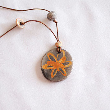 Ancient Greek ceramic clay adjustable necklace, Greek mythology jewelry, Flower necklace, leather pendant, bohemian style
