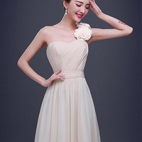 [37.99] In Stock Elegant Chiffon One-Shoulder Neckline A-line Prom Dress - Dressilyme.com