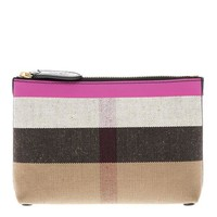 DCCKNY1 Burberry Women's Duncan Medium Canvas Check Pouch Pink