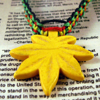 Marijuana Leaf Rasta Hemp Necklace with yellow weed leaf bead and rasta, green, and black hemp twine - 420 hemp jewelry