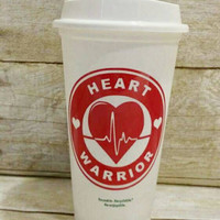Heart Warrior - CHD - Custom Reusable Coffee Cup - CHD Warrior - CHD Mom - Heart Disease Support - Reusable Starbuck Style Cup