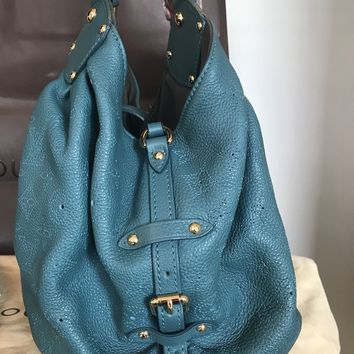 Authentic Louis Vuitton Mahina L Bag Tote Lagoon Teal Perforated Leather