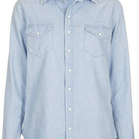 MOTO Fitted Chambray Shirt - Bleach Stone