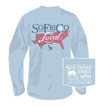 Local Southerner Long Sleeve Tee in Southern Sky by Southern Fried Cotton
