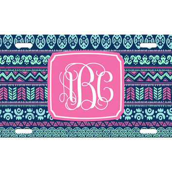 Custom Personalized License Plate Car Tag Navy Aztec Tribal Vine Monogram Sorority 16th Birthday Girls Gift Aluminum Front Car Plate LP-1006