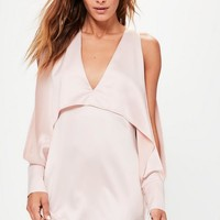 Missguided - Pink Cold Shoulder Split Sleeve Shift Dress