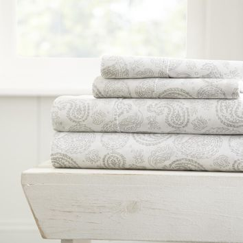 Soft Essentials? Premium Ultra Soft Coarse Paisley Print 4 Piece Sheet Set - California King - Light Gray - CASE OF 16