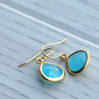 Aqua Glass Jewel Earrings . Ocean Blue Earrings . Matte Gold Earrings