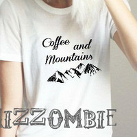 COFFEE and MOUNTAINS shirt unisex crew neck