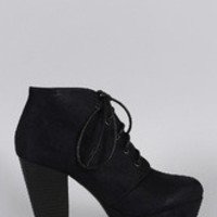 Women's Refined Lace Up Stacked Bootie