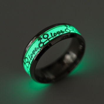 Gift Shiny New Arrival Jewelry Stylish Couple Love Titanium Noctilucent Lightning Alphabet Ring [10059715267]