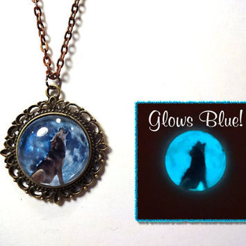 Howling Wolf Blue Moon Glow in the Dark Necklace by LittleGemGirl