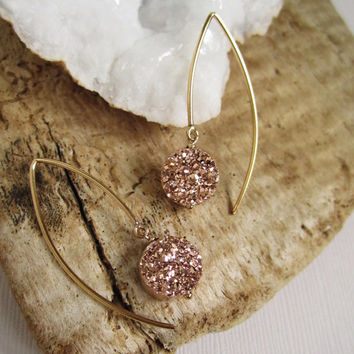 Rose Gold Druzy Earrings Titanium Drusy Quartz 14K Gold Fill
