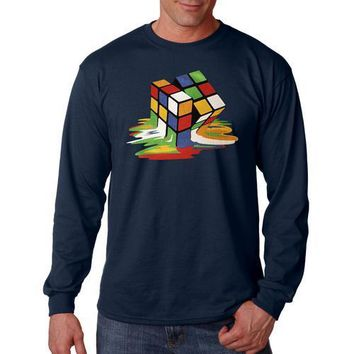 Melting Cube Graphic Men Long Sleeve Shirt Assorted Colors Sizes S-XXXL