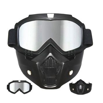 Ski Goggles snowboard mask with Tactical Mask Motorcycle snowboarding Skiing Goggle ski glasses With Removable Face Mask