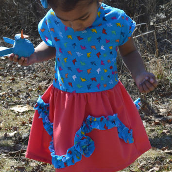 Bright Blue with Birds Dress and Boho Headband Set, Toddler Girls 2T - 3T