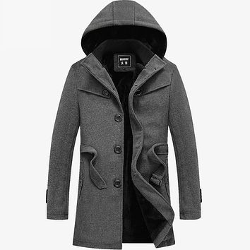 Plus Size Trench Hooded Coat Jacket For Male 2017 Long Winter Coats Men Bussiness Fashion Casual Single Breasted Windbreaker 4XL