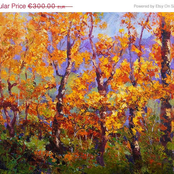 STUDIO SALE -20% Oil knife painting Silver Birch Trees Landscape Painting - Autumn Fire  Fall landscape painting Aspen Tress, Original oil p