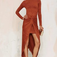 Knot Pursuit Vegan Suede Midi Dress