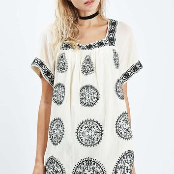 Embroidered Smock Dress - Topshop