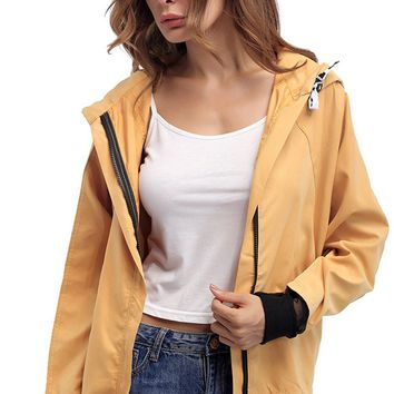 Long Sleeve Zip Up Thin Hooded Jacket