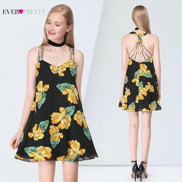 Sexy Homecoming Dresses Ever Pretty AS05614 A-line Sleeveless Floral Printed Beach Causal Dresses 2019 Grduation Short Dress
