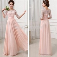 Vestidos de Fiesta Pink White Chiffon Long Formal Prom Gowns Back Lace Elegant Bridesmaid Dress Brides Maid Dress with Sleeves-in Bridesmaid Dresses from Weddings & Events on Aliexpress.com | Alibaba Group