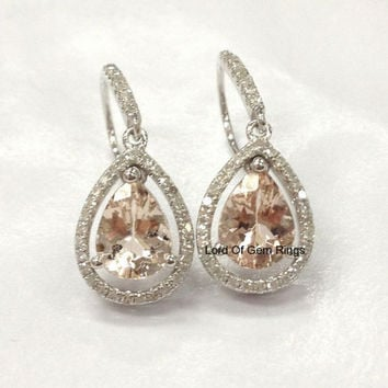 Reserved for am-islei, Pear Morganite Pave diamond Earrings 10K White gold,6x8mm,Halo,Hook