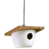 "8"" Minimalist Birdhouse, White, Feeders, Houses & Bird Baths"