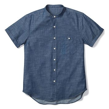 BAND COLLAR SHORT SLEEVE, BLUE CHAMBRAY