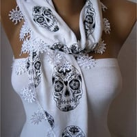 New Elegant White Scarf with Trim Edge--Shawl