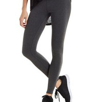Charcoal Heather Solid Stretch Cotton Leggings by Charlotte Russe