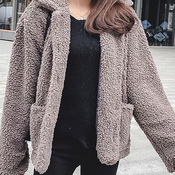 New Grey Fur Pockets Single Breasted Turndown Collar Long Sleeve Casual Coat