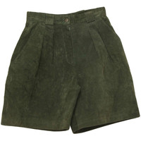 Vintage 90s Shorts: 90s -Forenza- Womens forest green, nylon lined, pleated, high waist leather wicked 90s shorts with wide legs, snap/zip closure and four pockets.