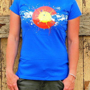 Women's Colorado Flag Paint Splatter -  Preshrunk Cotton Tshirt