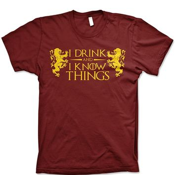 I drink and I know things tshirts funny tyrion lannister shirt graphic video game and tv tshirts guerrilla tees