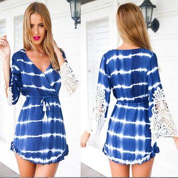 Flare Long Sleeve Lace Tie Dye Romper