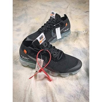 OFF WHITE Nike Air Vapormax Mesh Black Sport Running Shoes