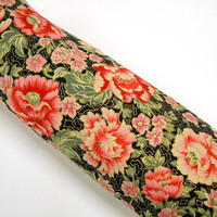 Robert Kaufman Floral Fabric, Metalic Floral on Black, Sewing Supplies, Yardage