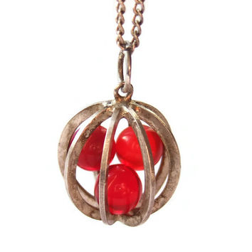 Vintage modernist Swedish silver caged carnelian bead pendant, 830 silver, kinetic jewelry, 1970, Norwegian silver chain Ivar T Holth, #212.