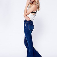 Free People Womens High Rise Zip Flare