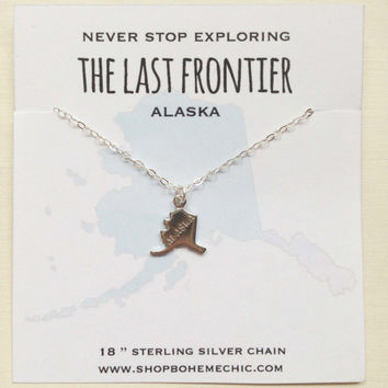 Alaska State Necklace Alaska Jewelry Silver Charm The Last Frontier State Pride Necklace Jewelry Travel Wanderlust Souvenir Home State