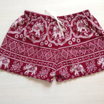 Boho woman casual soft shorts hippie shorts summer shorts pajama shorts / red and white elephants print