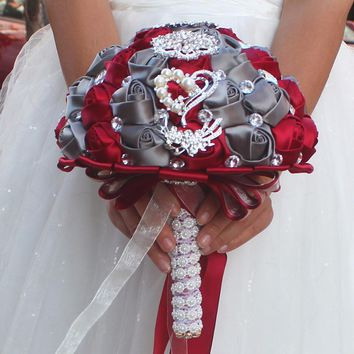 Artificial red and grey Wedding Bouquets Hand made Flower Rhinestone Bridesmaid Crystal Bridal Wedding Bouquet de mariage