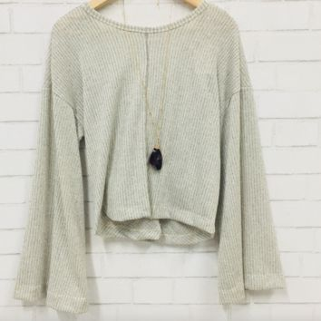 Twist and Shout Open-Back Sweater - Gray