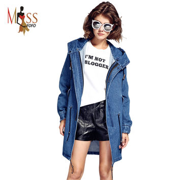 2016 autumn winter high fashion street women's casual hooded trench denim cooton washed outerwear loose clothing good quality