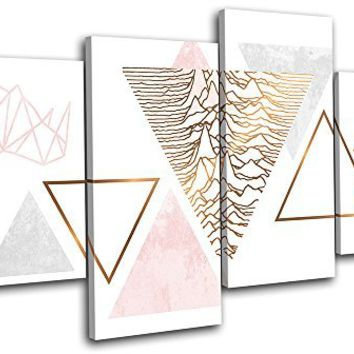 Bold Bloc Design - Geometric Flamingo Rose Gold Fashion 120x68cm MULTI Canvas Art Print Box Framed Picture Wall Hanging - Hand Made In The UK - Framed And Ready To Hang
