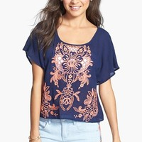Love on a Hanger Embroidered Eyelet Tee (Juniors)