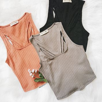 Sahara Ribbed Detail Tank (Black, Heather Grey, Rust)