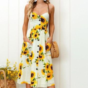 LMFKH7 2018 spring and summer new printing harness long dress